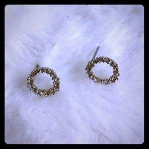Anthropologie Crystal Circle Earrings NWOT